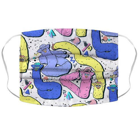 90's Long Furby Pattern Accordion Face Mask