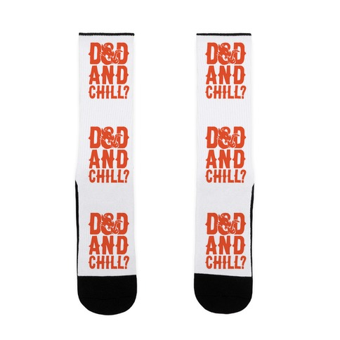D & D and Chill Parody White Print Sock