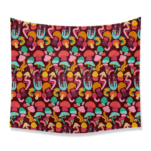 Retro Groovy Mushroom Pattern Tapestry