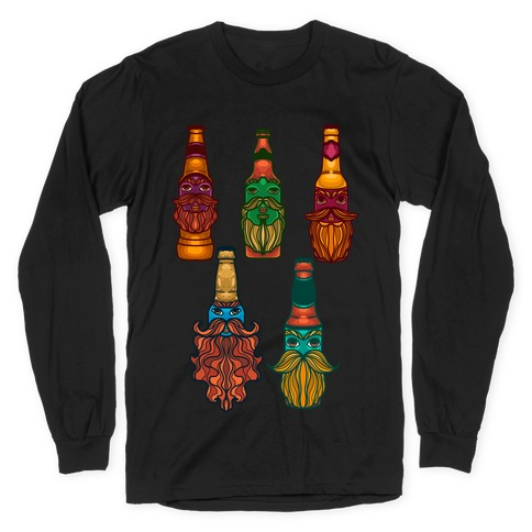Beers With Beards Pattern Long Sleeve T-Shirt