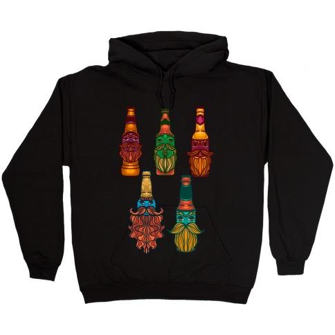 Beers With Beards Pattern Hooded Sweatshirt