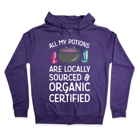 All My Potions Are Organic Witch Zip Hoodie