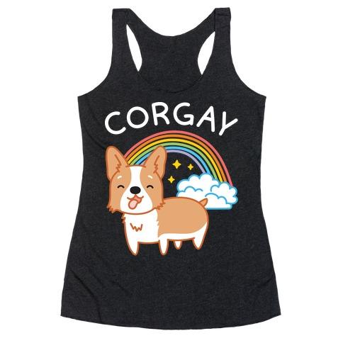 Corgay Gay Corgi Racerback Tank Top