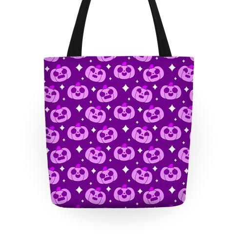 Kawaii Pumpkins Pattern Purple Tote