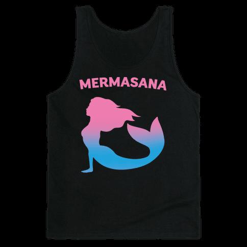 Mermasana Parody White Print Tank Top