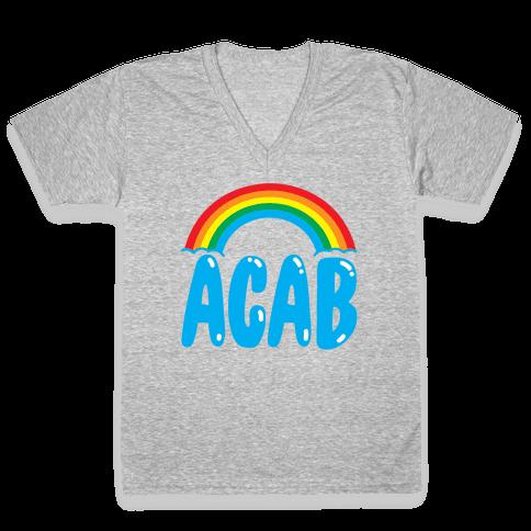 ACAB White Print V-Neck Tee Shirt