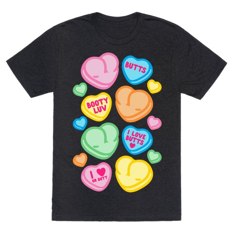 Candy Heart Butts White Print T-Shirt