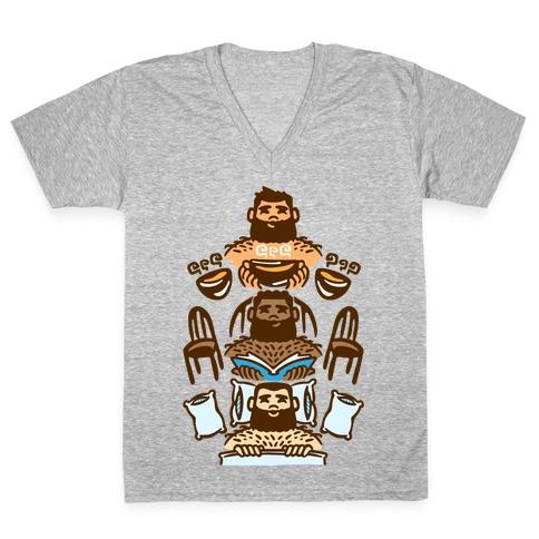 The 3 Bears White Print V-Neck Tee Shirt