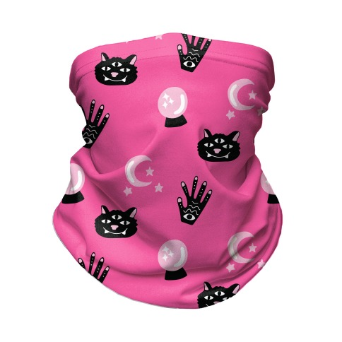 Pink Witch Vibes Pattern Neck Gaiter