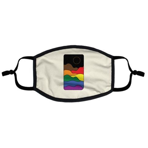 Groovy Pride Flag Landscapes: Pride Flag Flat Face Mask