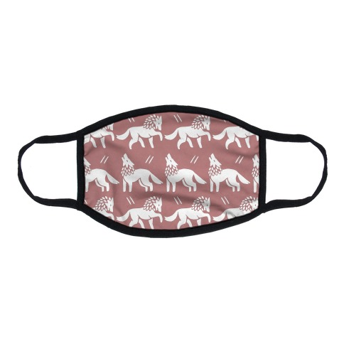 Wolf Dusty Pink Boho Pattern Flat Face Mask