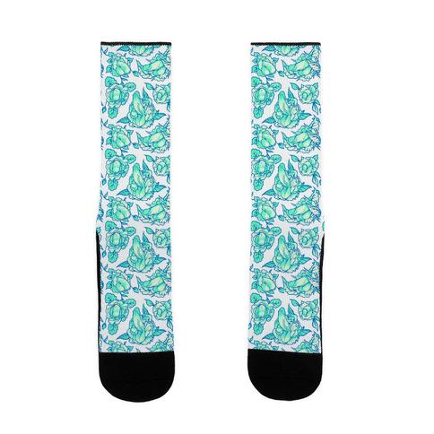 Floral Penis Teal Sock