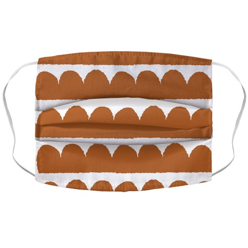 Simple Scalloped Lines Pattern Rust Orange Accordion Face Mask
