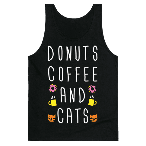 Donuts Coffee And Cats Tank Top
