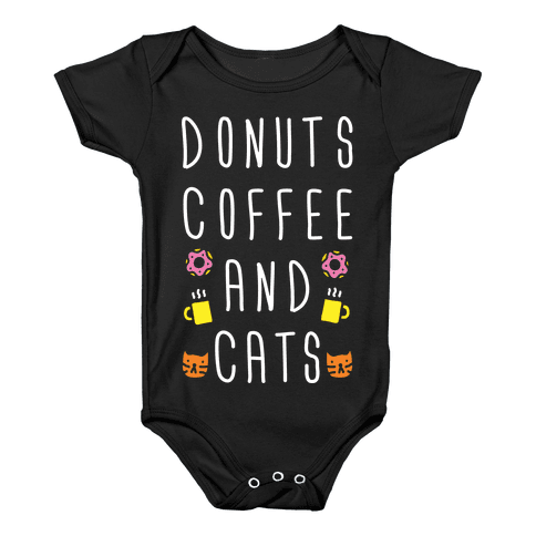 Donuts Coffee And Cats Baby Onesy