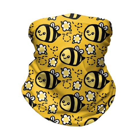 Cute Bumble Bee and Flower Pattern Neck Gaiter