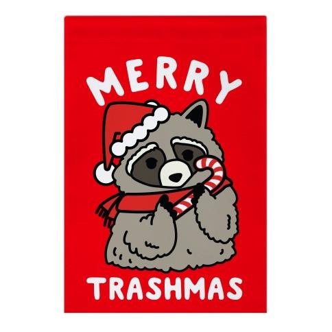 Merry Trashmas Raccoon Garden Flag