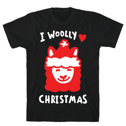 I Woolly Love Christmas Llama Mens T-Shirt