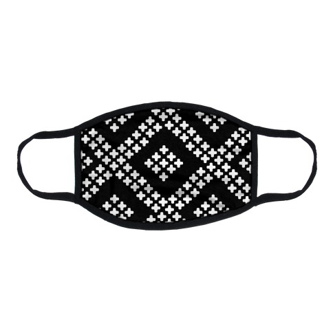 Little Cross Pattern Black Flat Face Mask