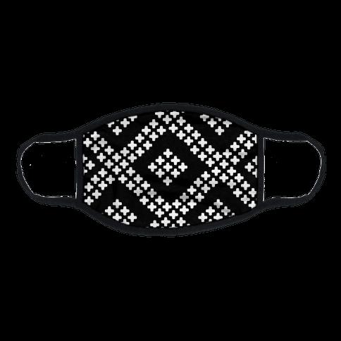 Little Cross Pattern Black Flat Face Mask