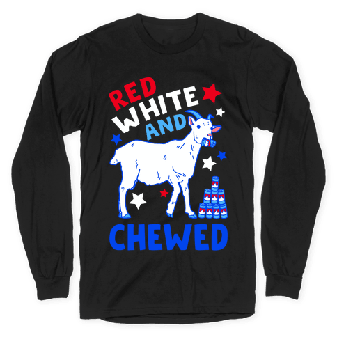 Red White and Chewed Goat Long Sleeve T-Shirt