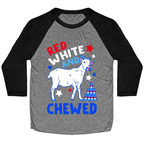 Red White and Chewed Goat Baseball Tee
