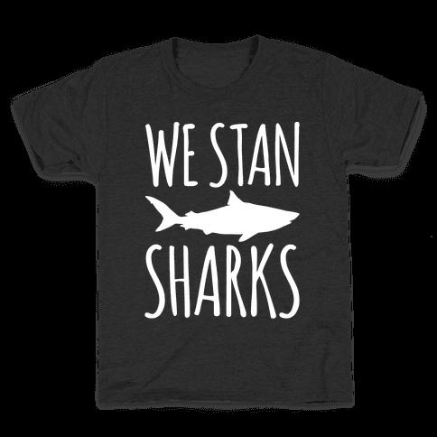 We Stan Sharks White Print Kids T-Shirt