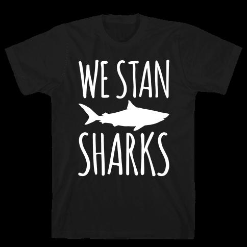We Stan Sharks White Print Mens T-Shirt