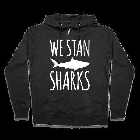 We Stan Sharks White Print Zip Hoodie