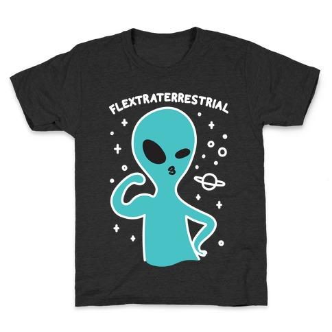 Flextraterrestrial Flexing Alien Kids T-Shirt