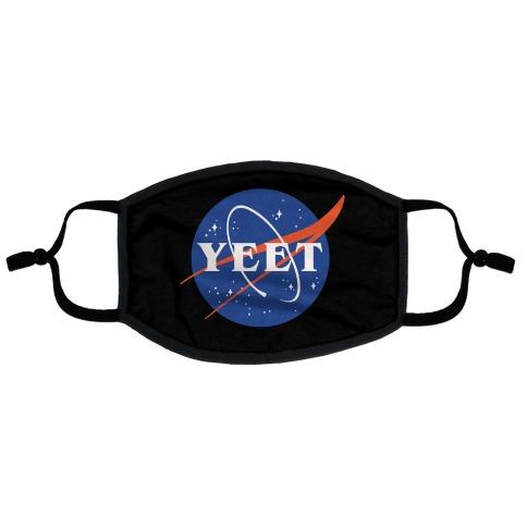 Yeet Nasa Logo Parody White Print Flat Face Mask