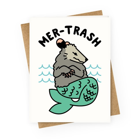 Mer-Trash Opossum Greeting Card