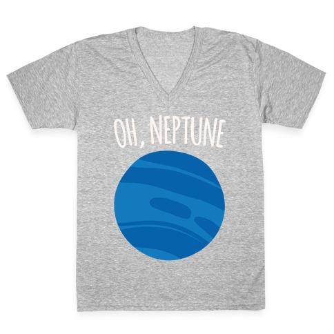 Oh Neptune White Print V-Neck Tee Shirt