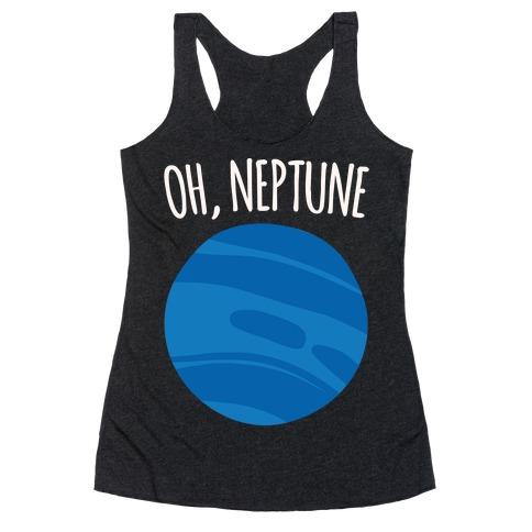 Oh Neptune White Print Racerback Tank Top
