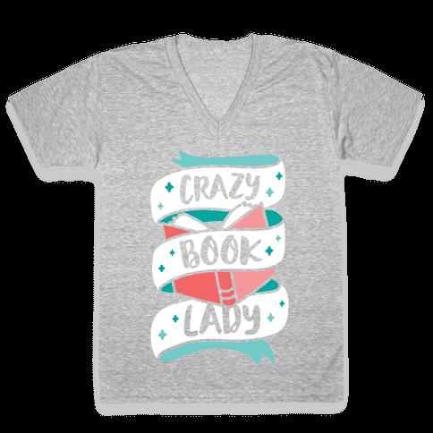 Crazy Book Lady V-Neck Tee Shirt