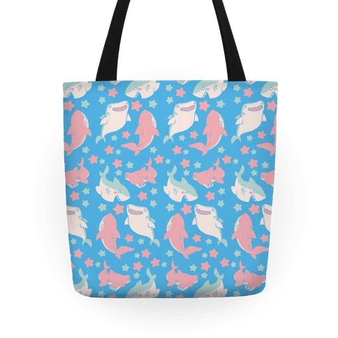 Happy Shark Pattern  Tote