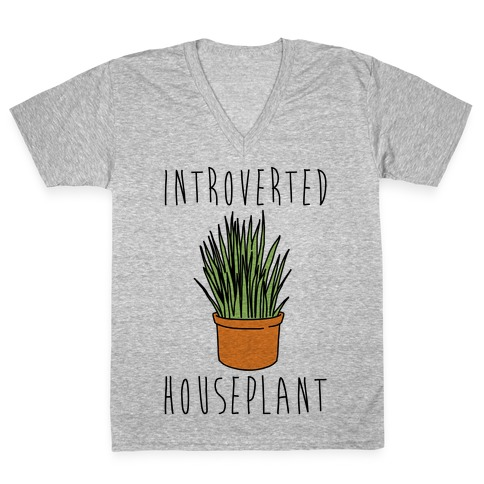 Introverted Houseplant V-Neck Tee Shirt