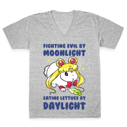 Fighting Evil By Moonlight Eating Lettuce By Daylight V-Neck Tee Shirt