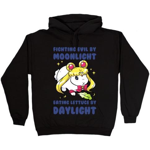 Fighting Evil By Moonlight Eating Lettuce By Daylight Hooded Sweatshirt