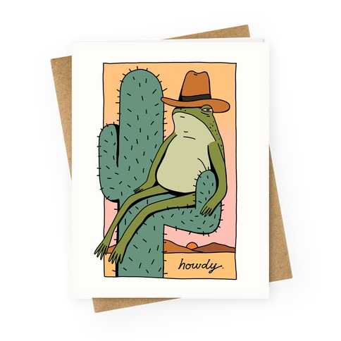 Howdy Frog Cowboy Greeting Card