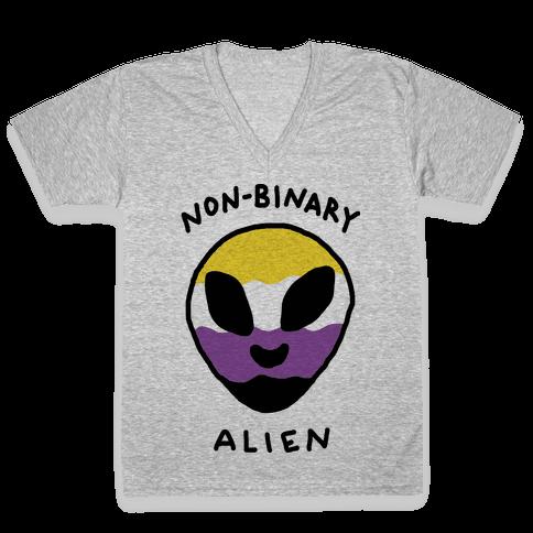 Non Binary Alien V-Neck Tee Shirt