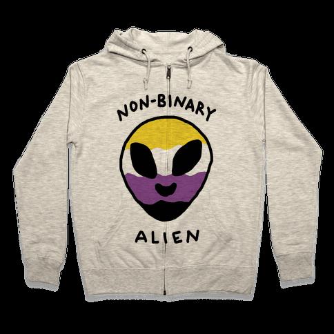 Non Binary Alien Zip Hoodie