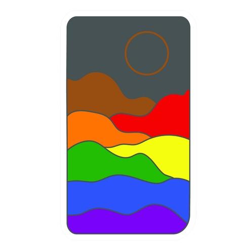 Groovy Pride Flag Landscapes: Pride Flag Die Cut Sticker