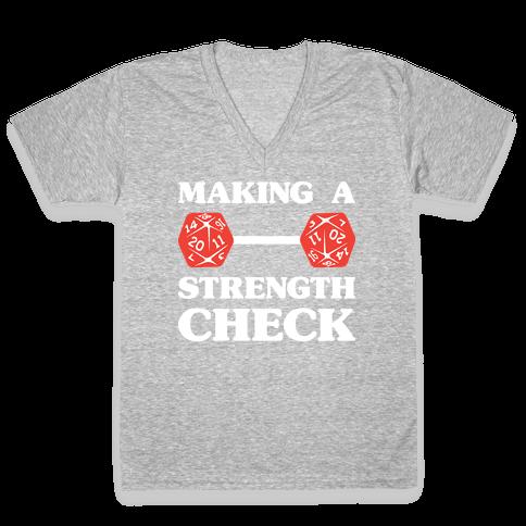 Making A Strength Check V-Neck Tee Shirt