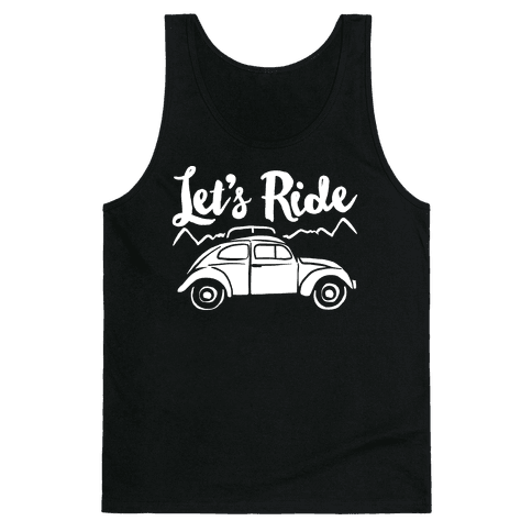 Let's Ride White Print Tank Top