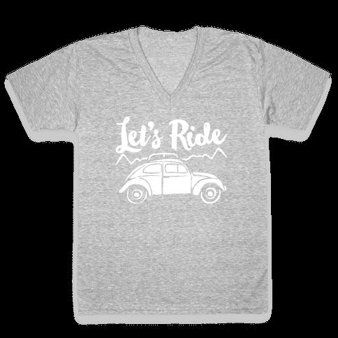 Let's Ride White Print V-Neck Tee Shirt
