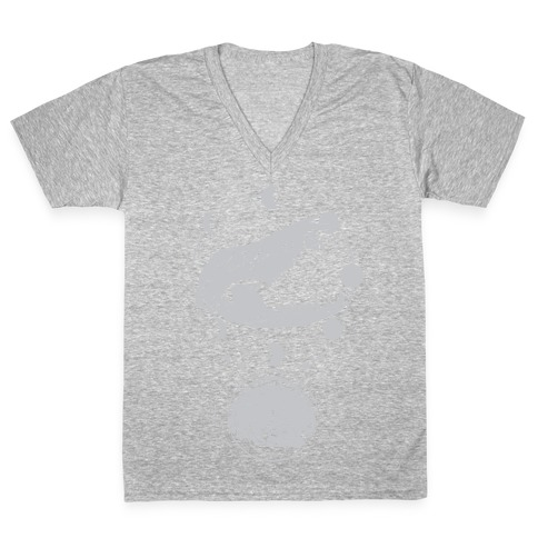 Occult Trash Possum White Print V-Neck Tee Shirt
