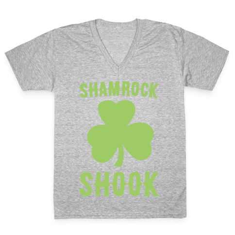 Shamrock Shook White Print V-Neck Tee Shirt