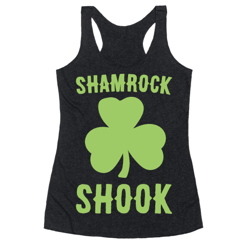Shamrock Shook White Print Racerback Tank Top