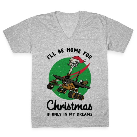 I'll Be Home For Christmas Oppy V-Neck Tee Shirt